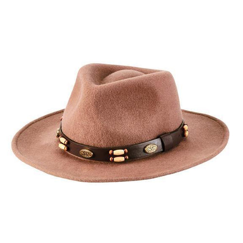 crushable, wire brim fedora with beaded faux leather band