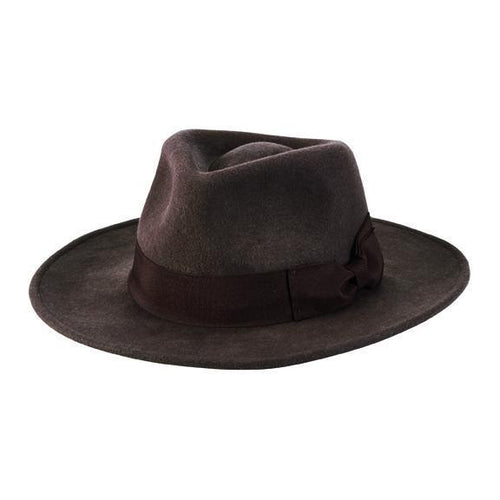 "Crushable Wool Felt Fedora w/ 1.5"" grosgrain bow trim"