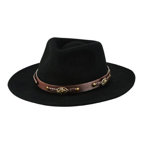 Crushable wool felt fedora with faux leather western band (WFH1201)