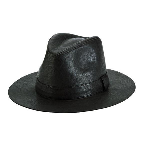 faux leather fedora with self band