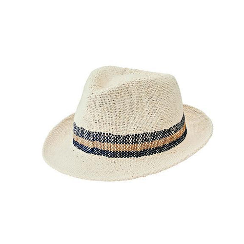 Men's Bangkok Paper Striped Fedora (PBF7332)