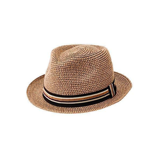 MENS TOBACCO PACKABLE FEDORA PAPERBRAID WITH STRIPED BAND (PBF7334)