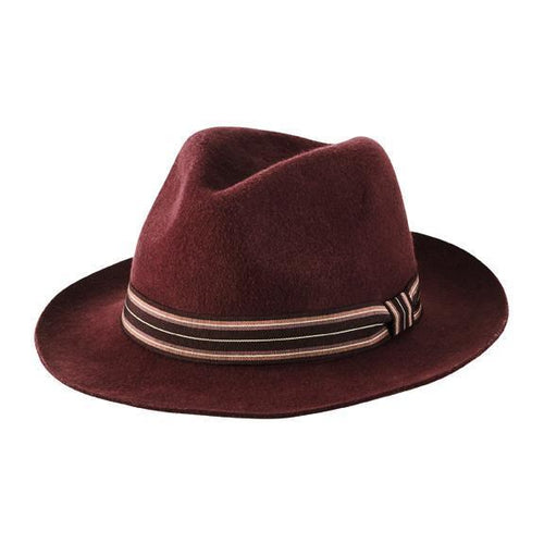 packable, crushable wool felt fedora with striped grosgrain