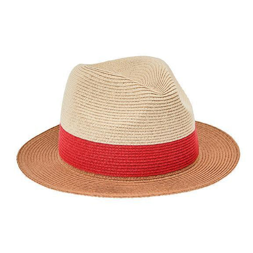 FEDORA - WOMENS FEDORA COLORBLOCK PAPERBRAID