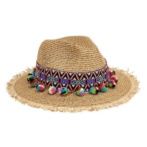 FEDORA - WOMENS FEDORA WITH MULTI COLOR POM