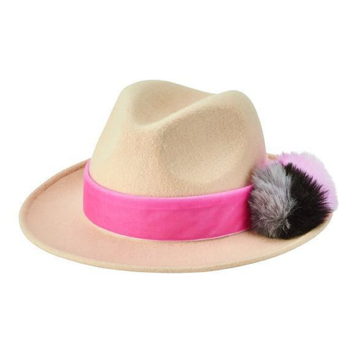 wool felt fedora with multi color faux fur pom and velvet trim - FS