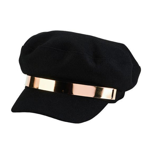 fisherman cap with gold band trim