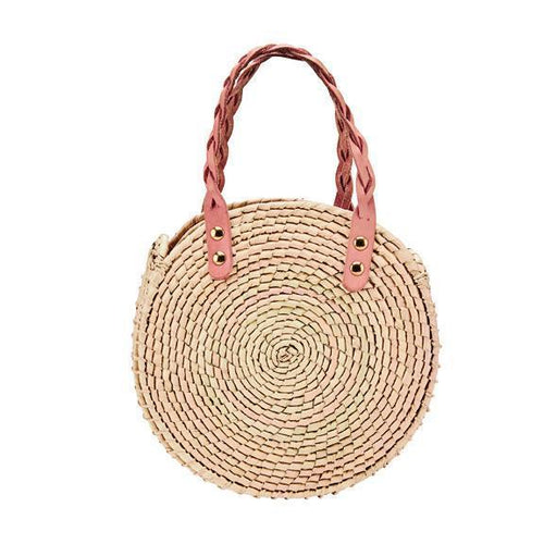 WOMENS ROUND HANDBAG WITH BRAIDED HANDLES (BSB1763)