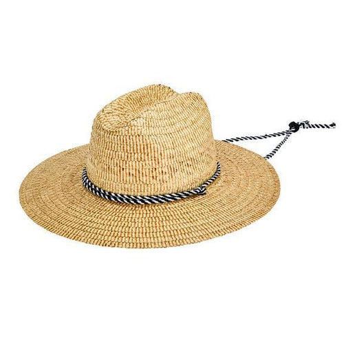 HAT - Men's Kwai Braided Straw Lifeguard With Adjustable Black And White Chin Cord