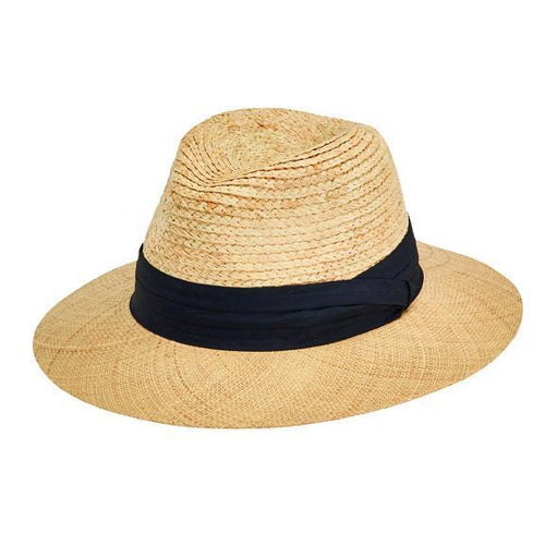 HAT - Men's Raffia Braid Crown With Bao Straw Brim Fedora And Tri-fold Band