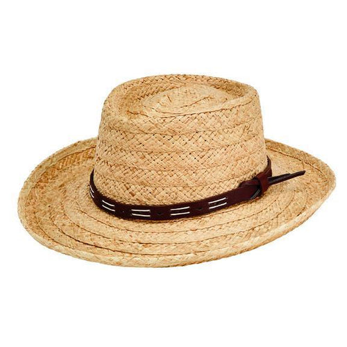 HAT - Men's Raffia Braid Gambler With Faux Leather Band