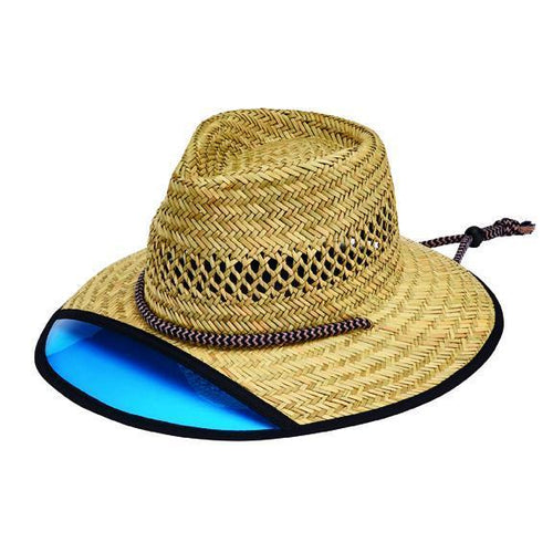 HAT - Men's Rush Straw Lifeguard Hat With Front Plastic Visor And Adjustable Chin Cord