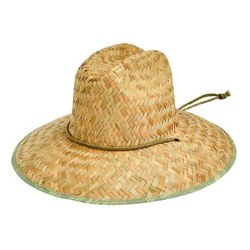 HAT - Men's Rush Straw Lifeguard With Under Brim Print And Adjustable Chin Cord