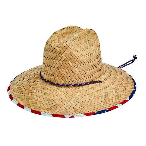 Mens Straw Lifeguard With Palm Print (RSM582OSNBK)