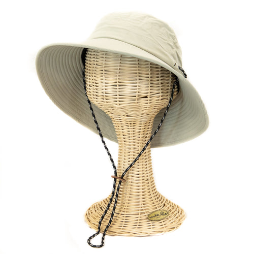 Men's wide brim hat  with adjustable chin cord and side slits for sunglasses - FS