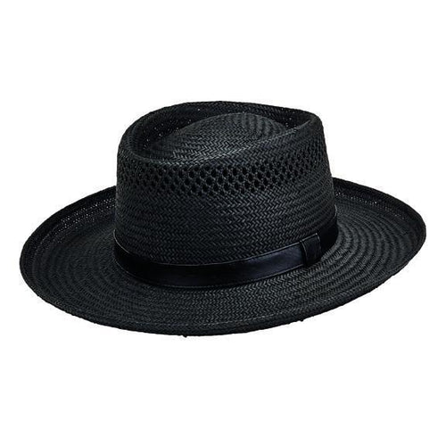 HAT - Men's Woven Paper Gambler With Faux Leather Band