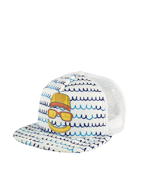 Hats - 3-7 Kid Banana Face Trucker With Sublimated Waves