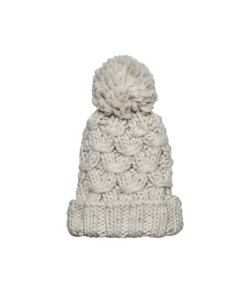 Hats - Crochet Knit Beanie With Cuff And Pom