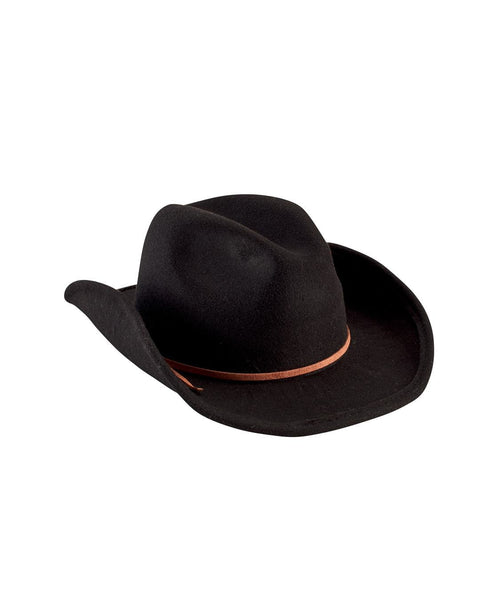 Hats - Faux Wool Cowboy Hat With Trim