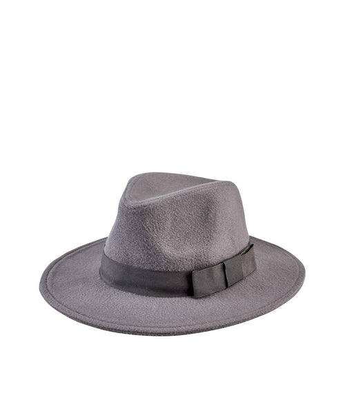 Hats - Faux Wool Fedora With Grosgrain Trim