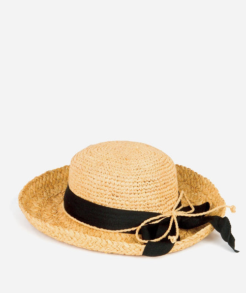 Hats - Kids' Raffia Hat With Ribbon