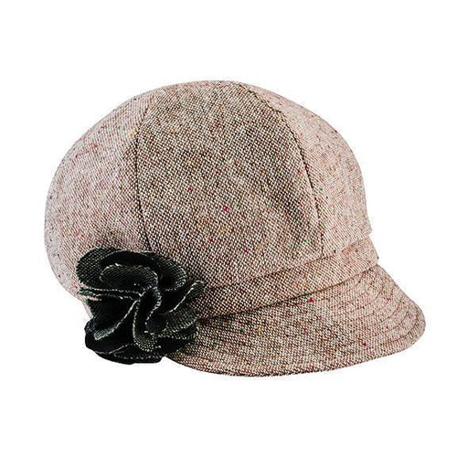Hats - Kids Tweed Newsboy With Flower
