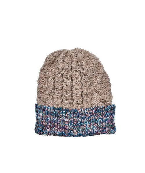 Hats - Knit Beanie With Contrast Yarn Cuff