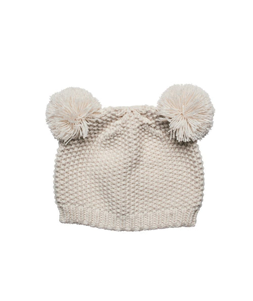 Hats - Knit Cap With Two Pom Ears