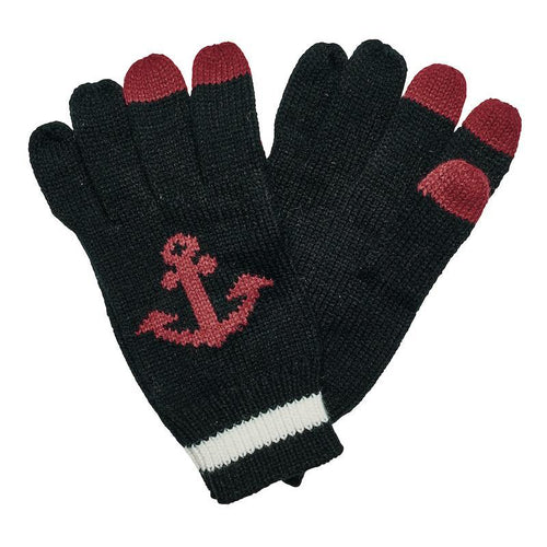 Hats - Knit Glove With Anchor And Tech Fingertips