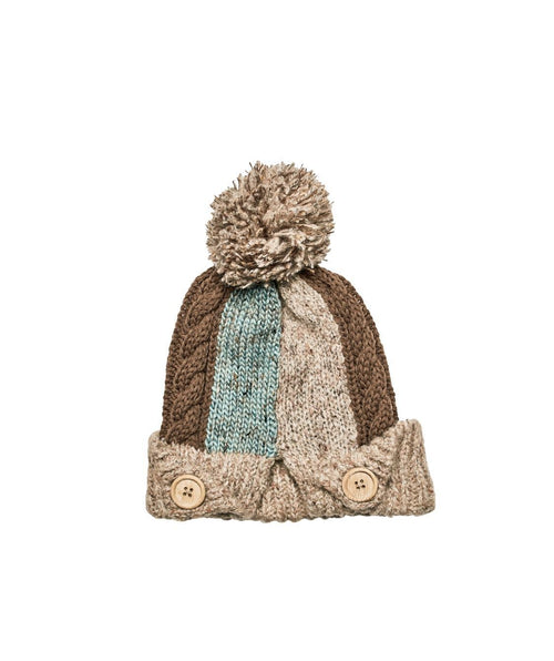 Hats - Knit Patchwork Beanie With Pom