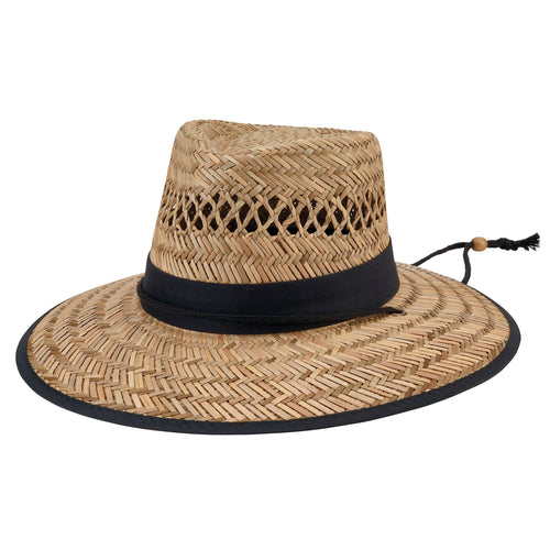 Men Rush Straw Lifeguard Hat with Adjustable Chin Cord  -FS