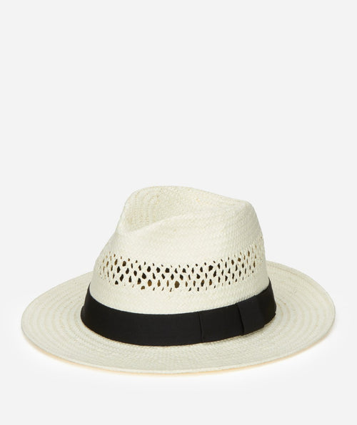 Hats - Men's Woven Paper Fedora With Vented Crown And Stretch Band