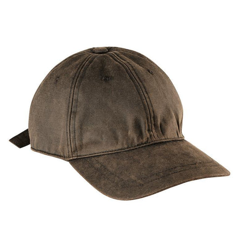 Hats - Mens Distressed Waxcloth Ball Cap-Brown-One Size
