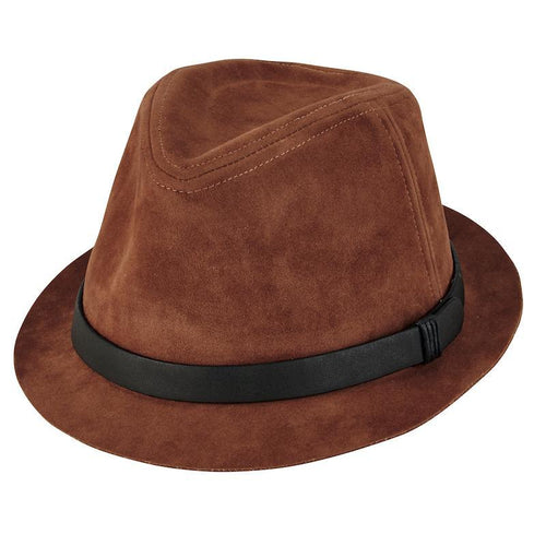 Hats - Mens Faux Suede Fedora-Tobacco-One Size