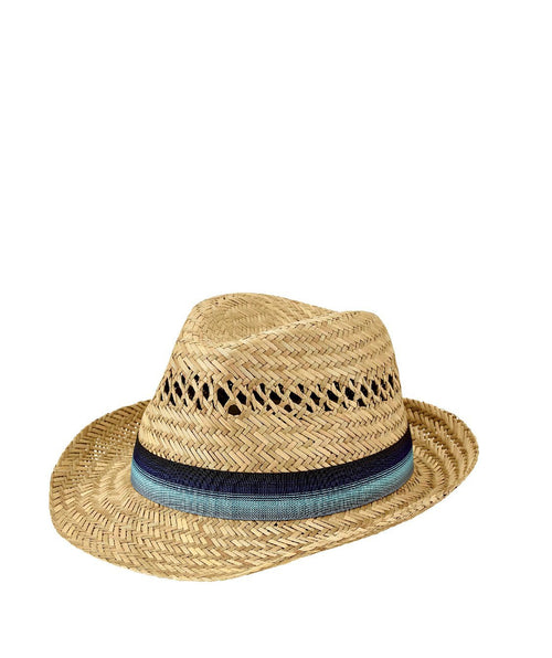 Hats - Mens Seagrass Fedora With Multi Color Inset