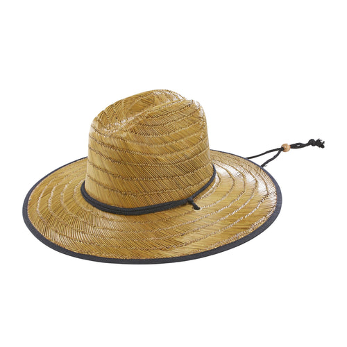 Mens Straw Chin Cord Sun Hat-Natural -FS