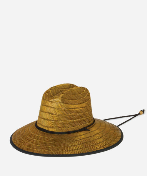 Hats - Mens Straw Straw Chin Cord Sun Hat-Natural