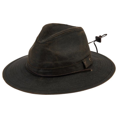 Hats - Mens Waxcloth Fedora-Brown-One Size