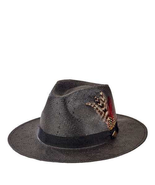 Hats - Mens Woven Paper Fedora W/ Feathers