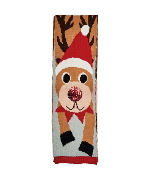 Reindeer Scarf W/ Sequins Red Nose (BSS1691)