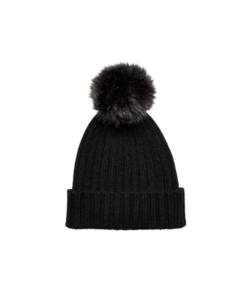 Hats - Rib Knit Beanie With Cuff And Faux Fur Pom
