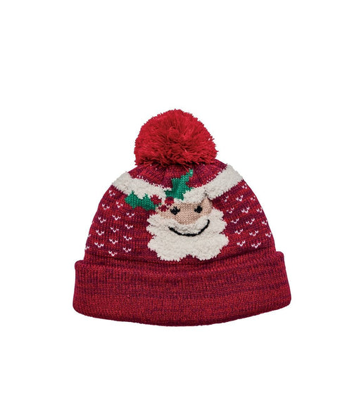 Santa Knit Cap With Pom (KNH3497OSRED)
