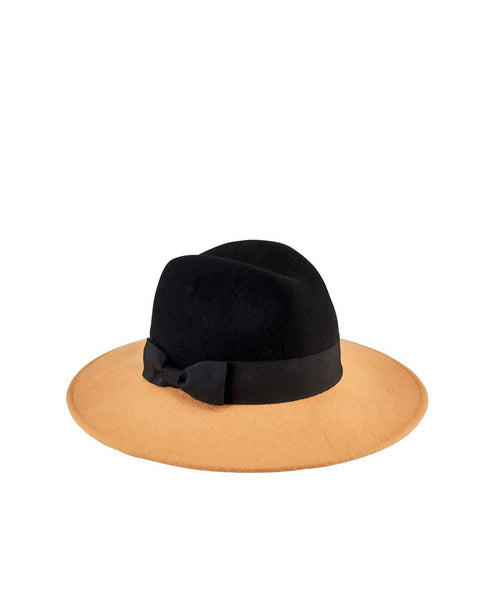 Hats - Women's Color Blocked Fedora With Bow