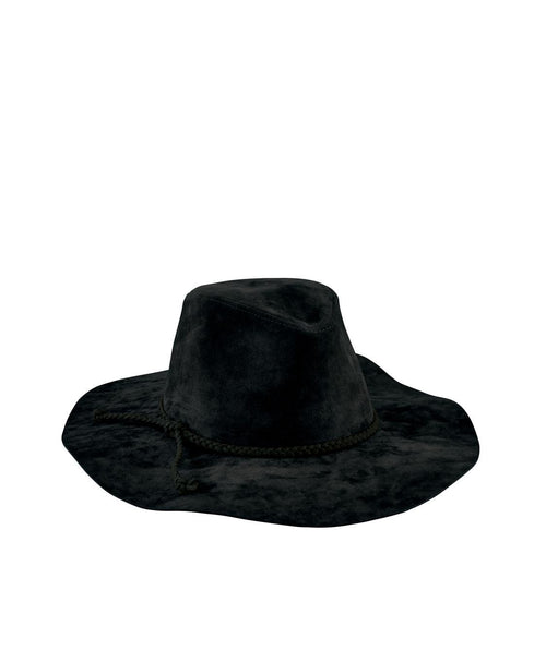Hats - Women's Faux Suede Fedora With Braided Trim