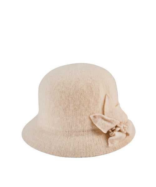 Hats - Women's Knit Cloche With Bow