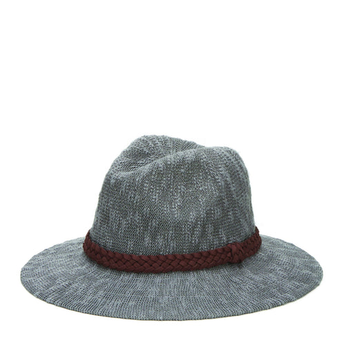 Women's Knit Fedora With Braided Faux Suede Trim (KNH8008)