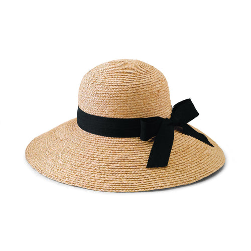 Hats - Women's Large Brim Raffia Hat With A Black Ribbon