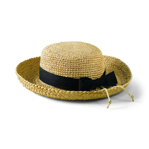 Hats - Women's Raffia Hat Crochet Crown-Natural W/ Black Ribbon