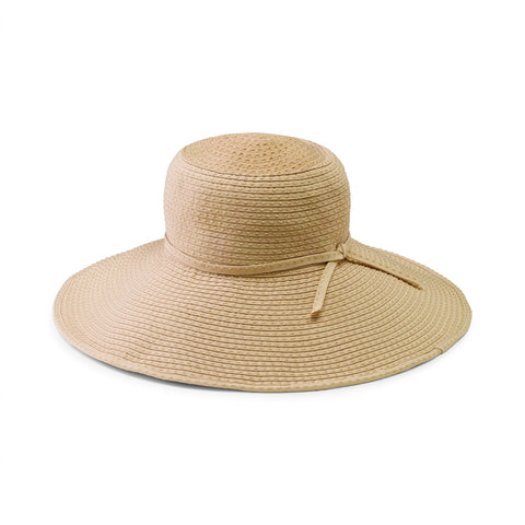 Women's large brim ribbon hat with raffia crown and adjustable tie (RBL4828)
