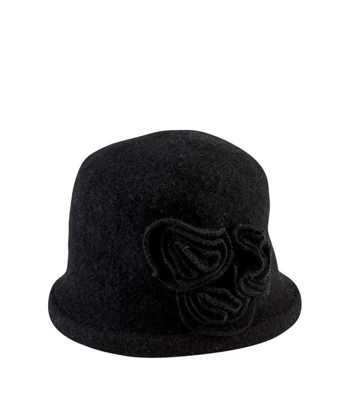 Hats - Women's Soft Knit Cloche With Flower